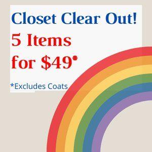 MASSIVE CLOTHING SALE!  BUNDLE 5 ITEMS FOR $49!
